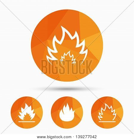 Fire flame icons. Heat symbols. Inflammable signs. Triangular low poly buttons with shadow. Vector
