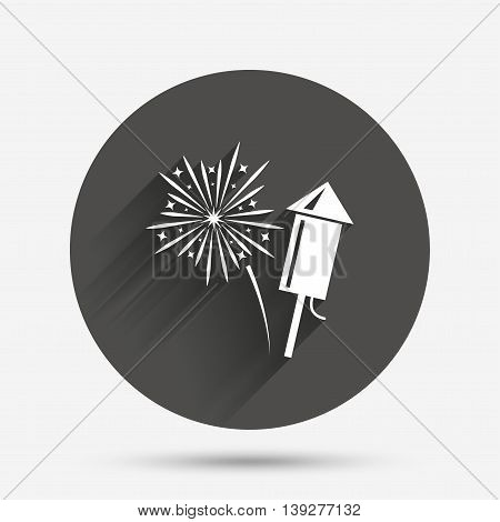 Fireworks with rocket sign icon. Explosive pyrotechnic symbol. Circle flat button with shadow. Vector