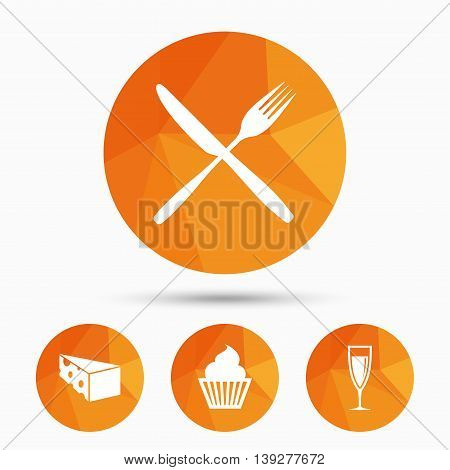 Food icons. Muffin cupcake symbol. Fork and knife sign. Glass of champagne or wine. Slice of cheese. Triangular low poly buttons with shadow. Vector