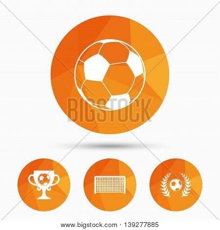 Football icons. Soccer ball sport sign. Goalkeeper gate symbol. Winner award cup and laurel wreath. Triangular low poly buttons with shadow. Vector