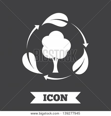 Fresh air sign icon. Forest tree with leaves symbol. Graphic design element. Flat fresh air symbol on dark background. Vector