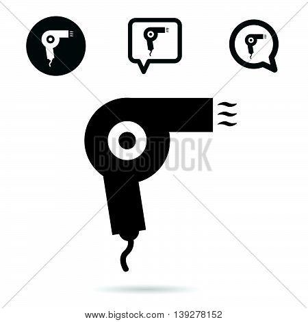 Hairdryer Icon Set In Black Illustration