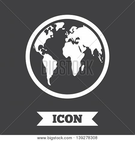 Globe sign icon. World map geography symbol. Graphic design element. Flat globe symbol on dark background. Vector
