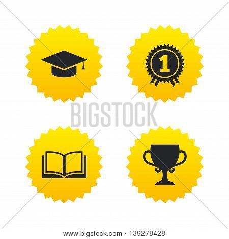 Graduation icons. Graduation student cap sign. Education book symbol. First place award. Winners cup. Yellow stars labels with flat icons. Vector