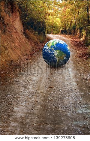 an image of a globe on the road