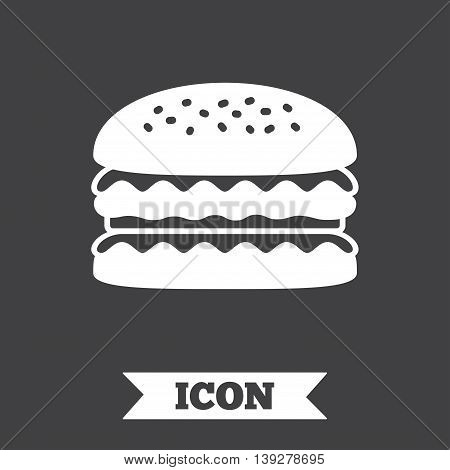 Hamburger icon. Burger food symbol. Cheeseburger sandwich sign. Graphic design element. Flat hamburger symbol on dark background. Vector