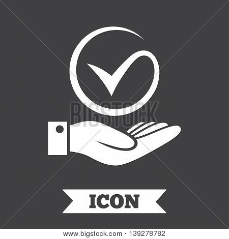 Tick and hand sign icon. Palm holds check mark symbol. Graphic design element. Flat hand check symbol on dark background. Vector