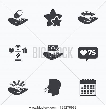 Helping hands icons. Protection and insurance symbols. Save money, car and health medical insurance. Agriculture wheat sign. Flat talking head, calendar icons. Stars, like counter icons. Vector