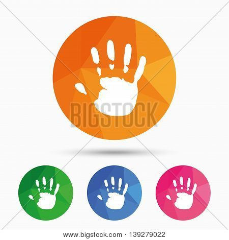 Hand print sign icon. Stop symbol. Triangular low poly button with flat icon. Vector