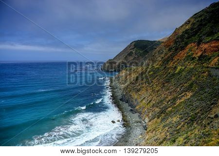 Pacific coast highway and shore Big Sir California