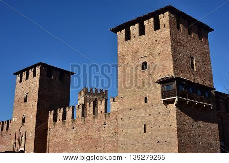 Castelvecchio (Old Castle) huge medieval towers with characteristic ghibelline battlement on of the most famous landmark in Verona