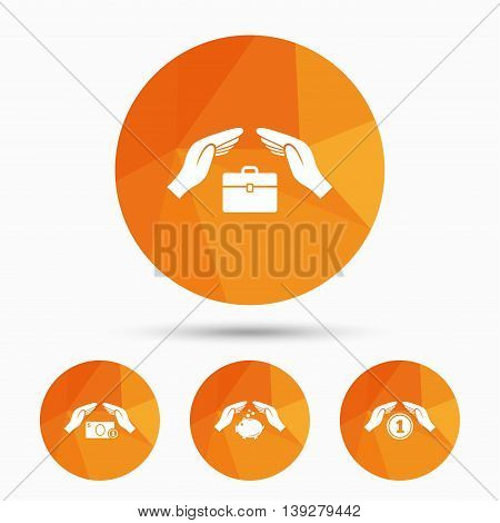 Hands insurance icons. Piggy bank moneybox symbol. Money savings insurance signs. Travel luggage and cash coin symbols. Triangular low poly buttons with shadow. Vector