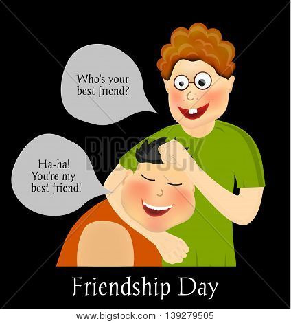 Friendship Day. International holiday. Two best friends. Funny playful festive background. Vector illustration eps10.