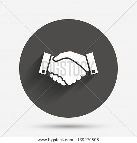 Handshake sign icon. Successful business symbol. Circle flat button with shadow. Vector
