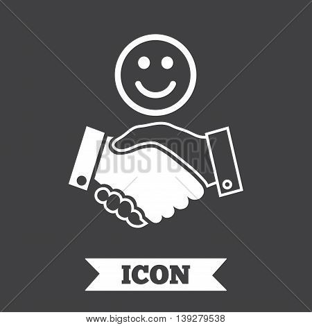 Smile handshake sign icon. Successful business with happy face symbol. Graphic design element. Flat handshake symbol on dark background. Vector