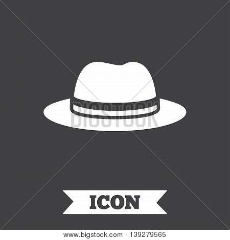 Top hat sign icon. Classic headdress symbol. Graphic design element. Flat hat symbol on dark background. Vector