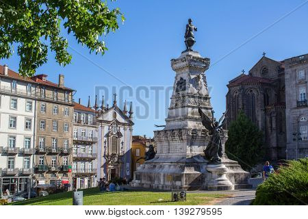 PORTO, PORTUGAL - JUL 8, 2016: Views of one of the streets in the historical center of city. City of Porto won the European Best Destination 2012 and 2014 awards.