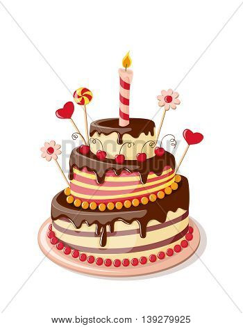 Festive colorful isolated cake tier with candle hearts and flowers on the white background. eps10.