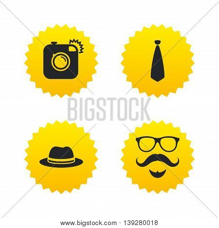 Hipster photo camera. Mustache with beard icon. Glasses and tie symbols. Classic hat headdress sign. Yellow stars labels with flat icons. Vector