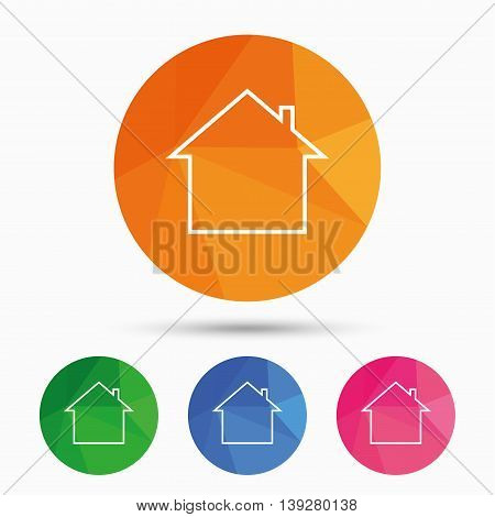 Home sign icon. Main page button. Navigation symbol. Triangular low poly button with flat icon. Vector