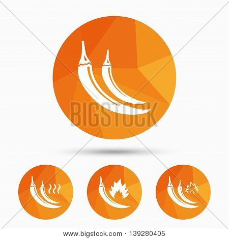 Hot chili pepper icons. Spicy food fire sign symbols. Triangular low poly buttons with shadow. Vector