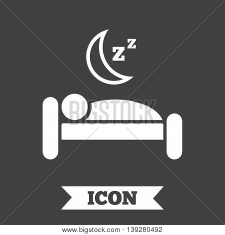 Hotel apartment sign icon. Travel rest place. Sleeper symbol. Graphic design element. Flat hotel symbol on dark background. Vector
