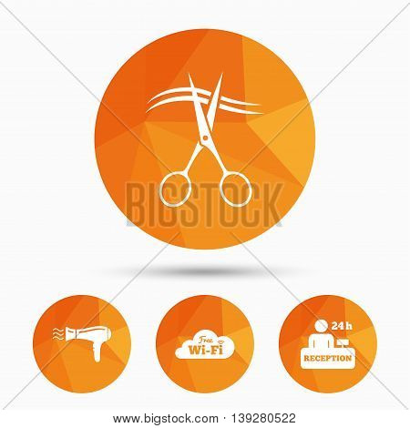 Hotel services icons. Wi-fi, Hairdryer in room signs. Wireless Network. Hairdresser or barbershop symbol. Reception registration table. Triangular low poly buttons with shadow. Vector
