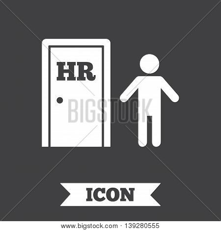 Human resources sign icon. HR symbol. Workforce of business organization. Man at the door. Graphic design element. Flat human resources symbol on dark background. Vector