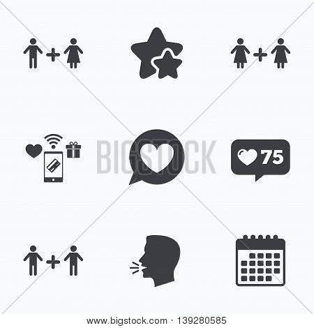 Couple love icon. Lesbian and Gay lovers signs. Romantic homosexual relationships. Speech bubble with heart symbol. Flat talking head, calendar icons. Stars, like counter icons. Vector