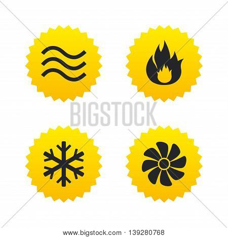 HVAC icons. Heating, ventilating and air conditioning symbols. Water supply. Climate control technology signs. Yellow stars labels with flat icons. Vector