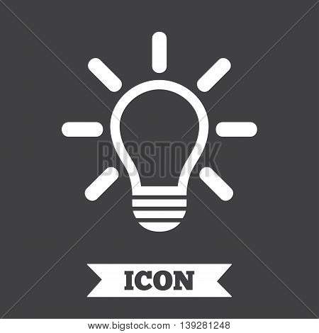 Light lamp sign icon. Idea symbol. Light is on. Graphic design element. Flat lamp symbol on dark background. Vector