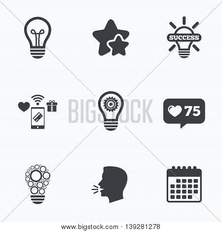 Light lamp icons. Circles lamp bulb symbols. Energy saving with cogwheel gear. Idea and success sign. Flat talking head, calendar icons. Stars, like counter icons. Vector