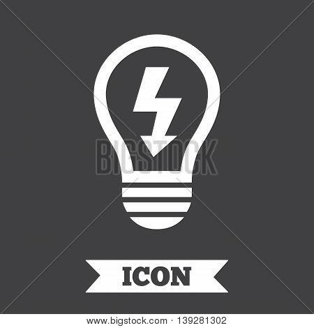 Light lamp sign icon. Bulb with lightning symbol. Idea symbol. Graphic design element. Flat light lamp symbol on dark background. Vector