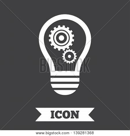 Light lamp sign icon. Bulb with gears and cogs symbol. Idea symbol. Graphic design element. Flat idea symbol on dark background. Vector