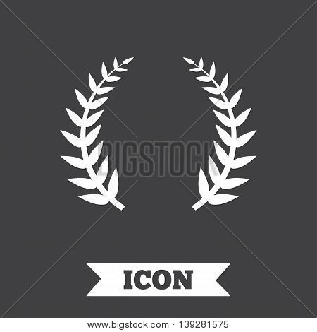 Laurel Wreath sign icon. Triumph symbol. Graphic design element. Flat laurel wreath symbol on dark background. Vector
