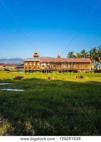 Local community village around Inle lake, Myanmar