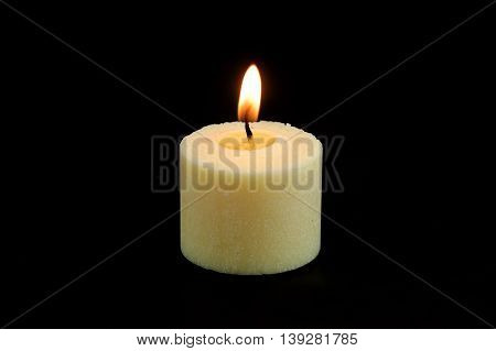 candle, flame, fire of white candle on black background