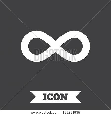 Limitless sign icon. Infinity symbol. Graphic design element. Flat limitless symbol on dark background. Vector