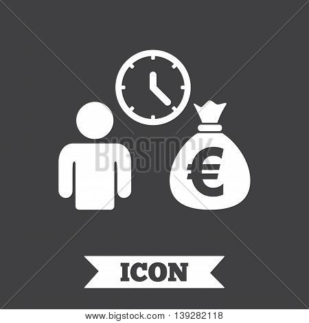Bank loans sign icon. Get money fast symbol. Borrow money. Graphic design element. Flat bank loans symbol on dark background. Vector