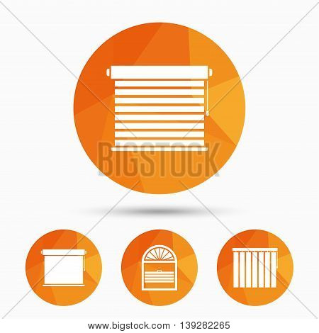 Louvers icons. Plisse, rolls, vertical and horizontal. Window blinds or jalousie symbols. Triangular low poly buttons with shadow. Vector