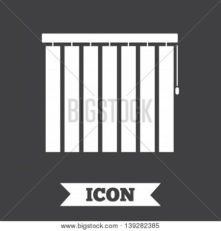Louvers vertical sign icon. Window blinds or jalousie symbol. Graphic design element. Flat louvers symbol on dark background. Vector