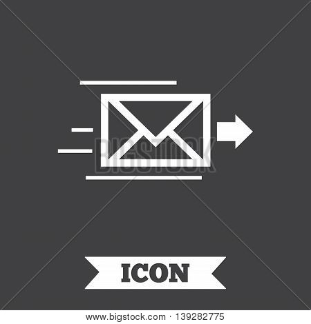 Mail delivery icon. Envelope symbol. Message sign. Mail navigation button. Graphic design element. Flat envelope symbol on dark background. Vector