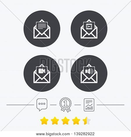 Mail envelope icons. Message document symbols. Video and Audio voice message signs. Chat, award medal and report linear icons. Star vote ranking. Vector