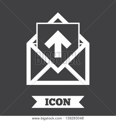Mail icon. Envelope symbol. Outgoing message sign. Mail navigation button. Graphic design element. Flat message symbol on dark background. Vector