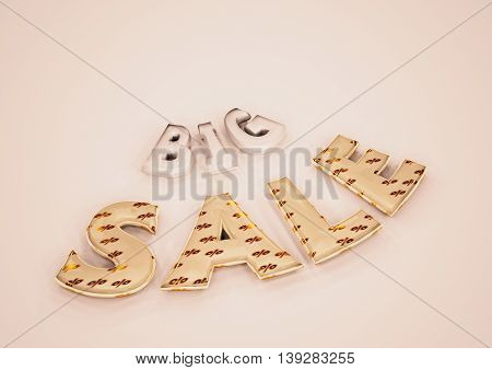 The dimensional word Big sale on a background. 3D illustration.