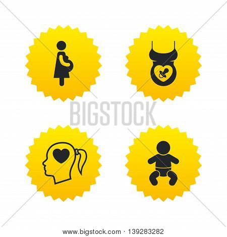 Maternity icons. Baby infant, pregnancy and dummy signs. Child pacifier symbols. Head with heart. Yellow stars labels with flat icons. Vector