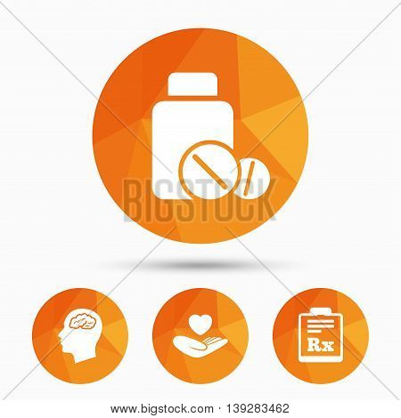 Medicine icons. Medical tablets bottle, head with brain, prescription Rx signs. Pharmacy or medicine symbol. Hand holds heart. Triangular low poly buttons with shadow. Vector