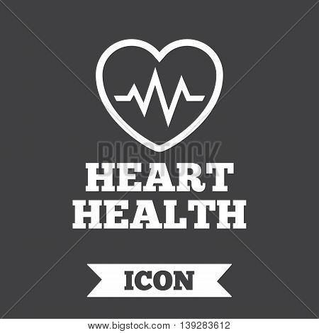 Heartbeat sign icon. Heart health cardiogram check symbol. Graphic design element. Flat heartbeat symbol on dark background. Vector