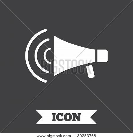 Megaphone sign icon. Loudspeaker strike symbol. Graphic design element. Flat megaphone symbol on dark background. Vector
