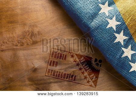 Hot stamping Made in Bosnia and Herzegovina and flag